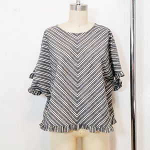 A New Day Top 100% Textured Cotton Stripe Ruffled